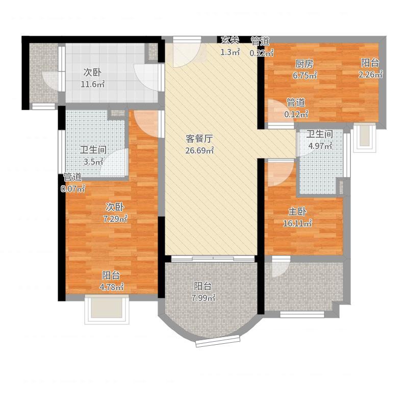 雅居乐星河湾116.00㎡二期15#楼标准层D户型3室3厅2卫1厨-副本户型图