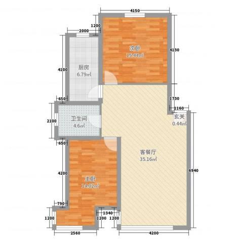 紫龙新城2室2厅1卫1厨99.00㎡户型图