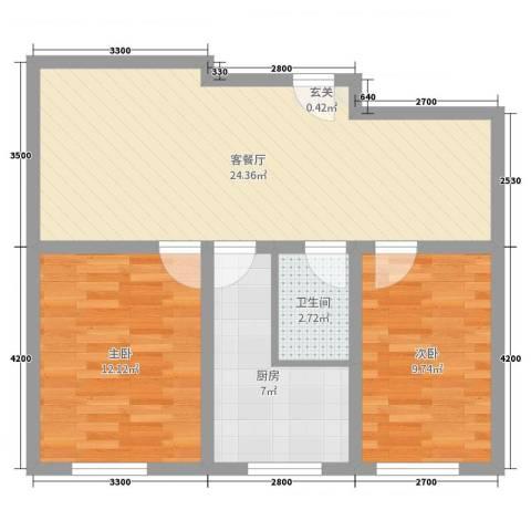 紫龙新城2室2厅1卫1厨88.00㎡户型图