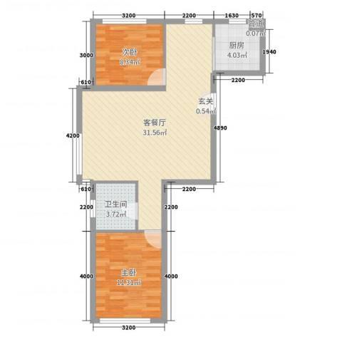 紫龙新城2室2厅1卫1厨87.00㎡户型图