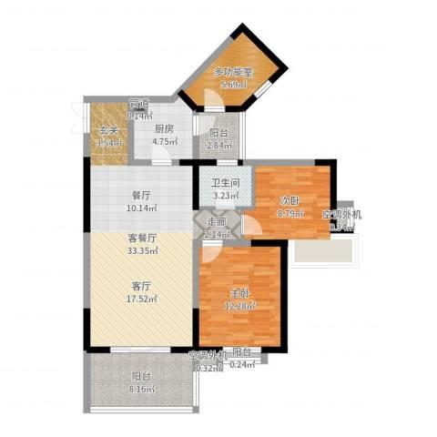 巴国公馆2室2厅1卫1厨100.00㎡户型图