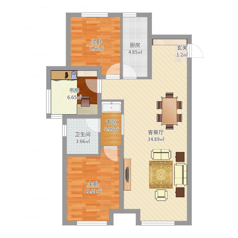 金地檀境104.00㎡39号楼D-1户型3室3厅1卫1厨户型图