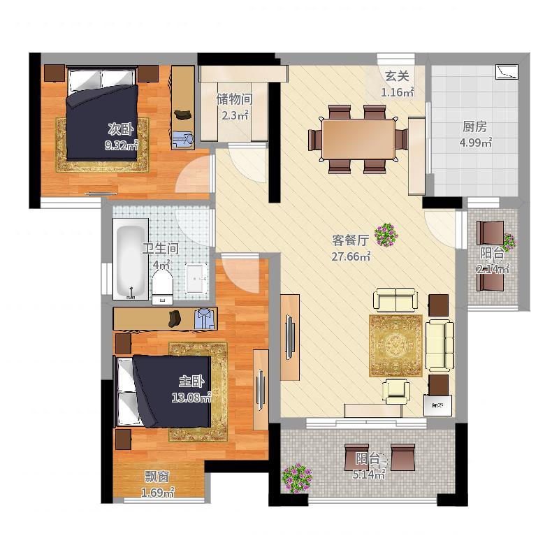 建华玖珑湾89.90㎡A-2户型2室2厅1卫-副本户型图