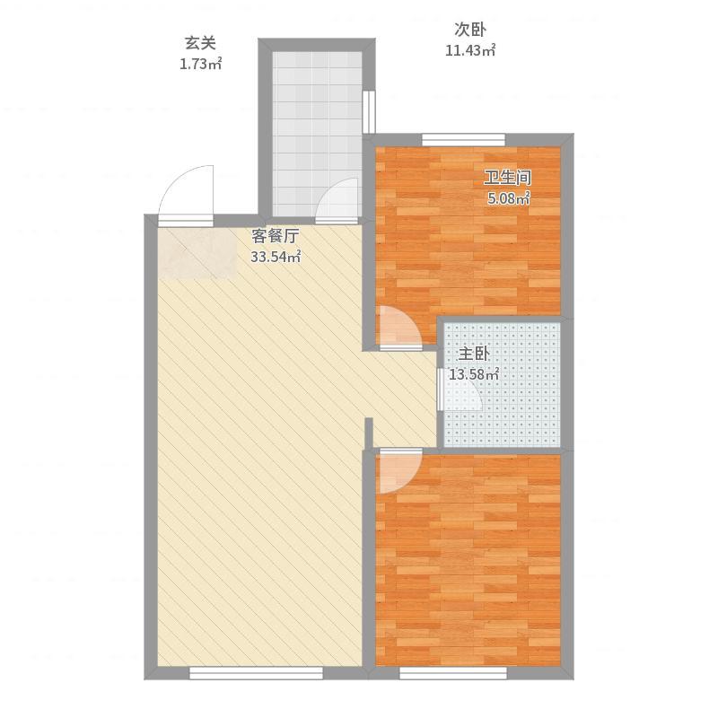 保利城87.00㎡10/11#A1户型2室2厅1卫1厨-副本户型图