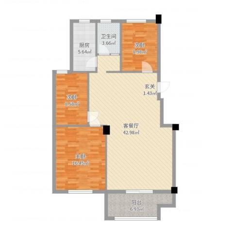 凤鸣郡和墅3室2厅1卫1厨117.00㎡户型图