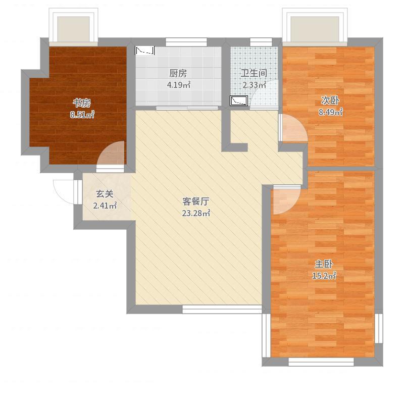 荣盛城88.45㎡32C户型3室3厅1卫1厨-副本-副本户型图
