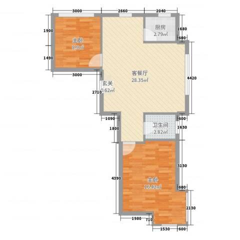 紫龙新城2室2厅1卫1厨92.00㎡户型图
