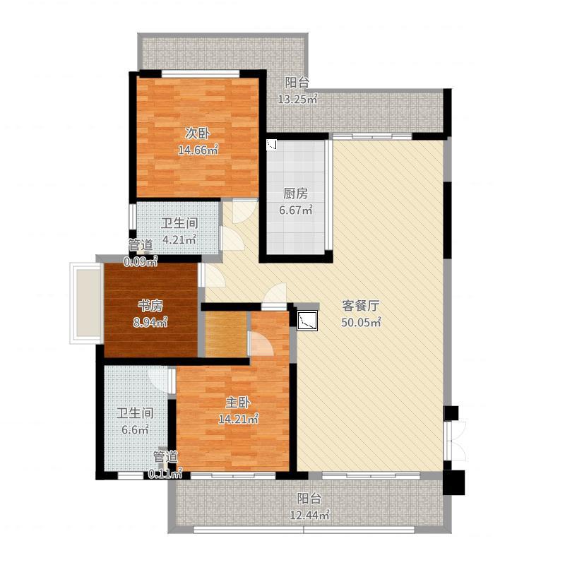 保利星海屿180.00㎡D1户型3室2厅2卫1厨户型图