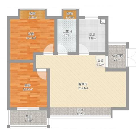 凤凰财富广场2室2厅1卫1厨87.00㎡户型图