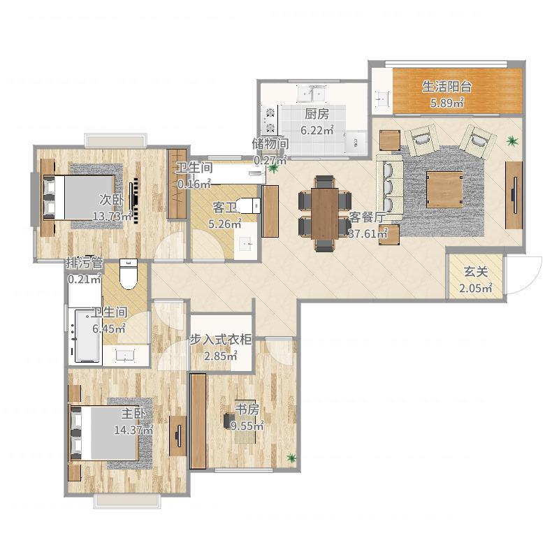 130方混搭三房-副本户型图