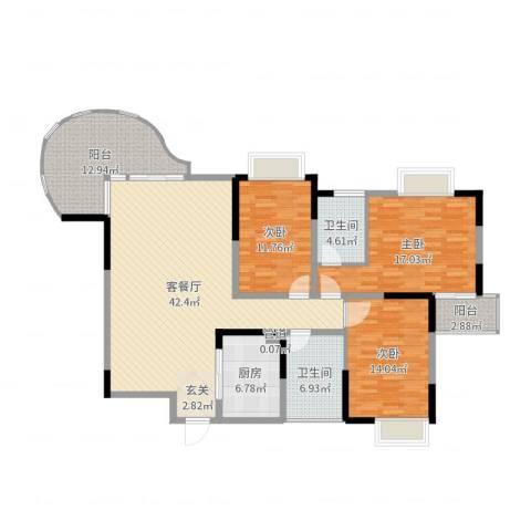 新世纪丽江豪园四期3室2厅2卫1厨149.00㎡户型图