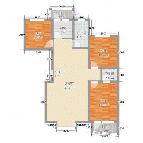 御景湾3室2厅2卫1厨108.00㎡户型图
