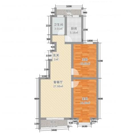 御景湾2室2厅1卫1厨81.00㎡户型图