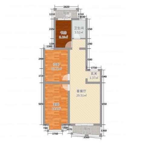 御景湾3室2厅1卫0厨88.00㎡户型图