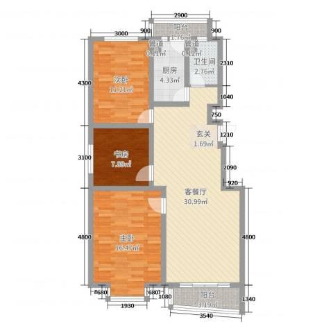 御景湾3室2厅1卫1厨99.00㎡户型图