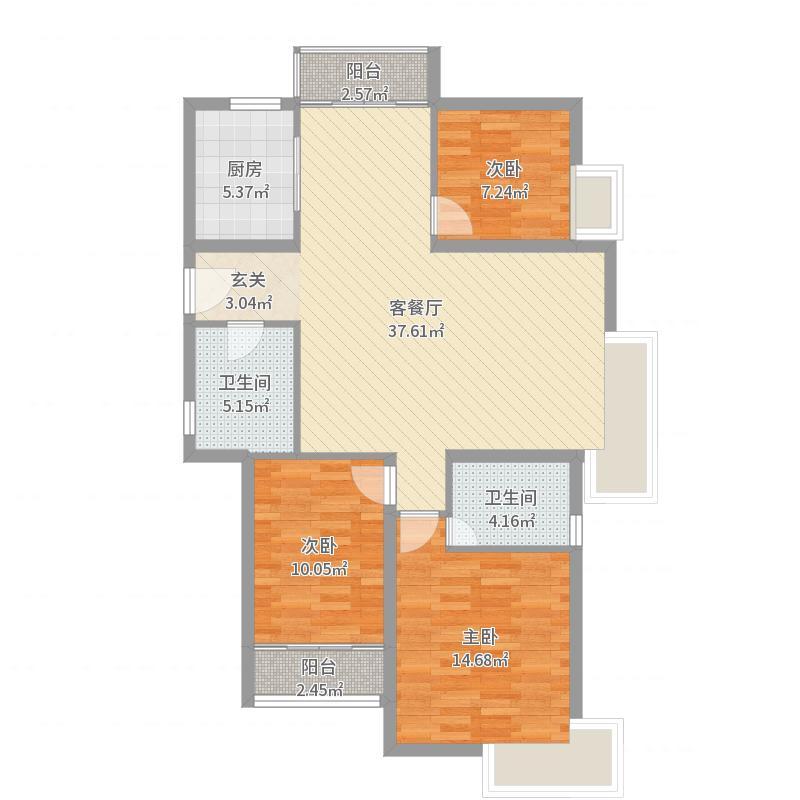 沈铁・达观13.00㎡B-139户型3室2厅2卫1厨户型图
