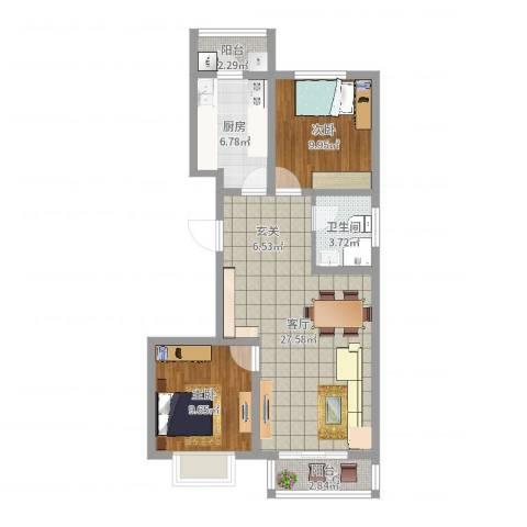 壹克拉公馆2室1厅1卫1厨78.00㎡户型图
