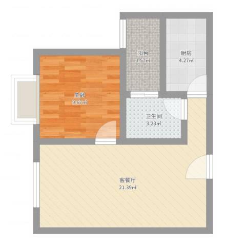 凤凰财富广场1室2厅1卫1厨53.00㎡户型图