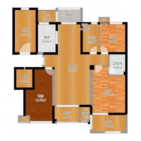 中坚豪庭3室2厅2卫1厨158.00㎡户型图