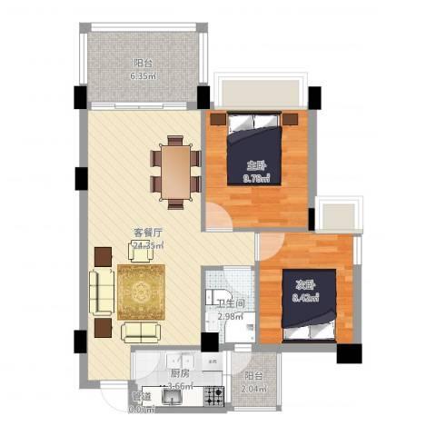 景湖春天2室2厅1卫1厨72.00㎡户型图