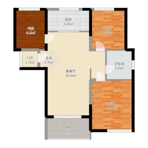 金桥澎湖湾3室2厅1卫1厨102.00㎡户型图