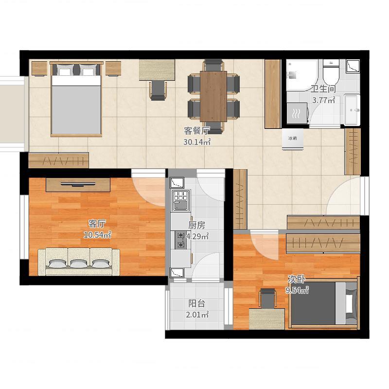 北京_东洲家园_20170818三居室-套用模型户型图