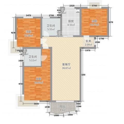 泰恒华府3室2厅2卫1厨132.00㎡户型图