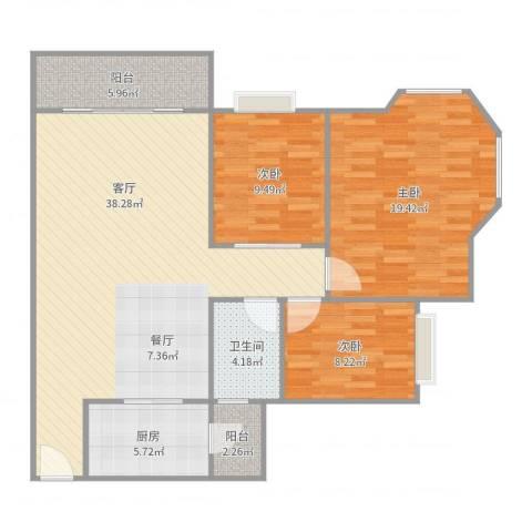 雍逸廷A区3室1厅1卫1厨117.00㎡户型图