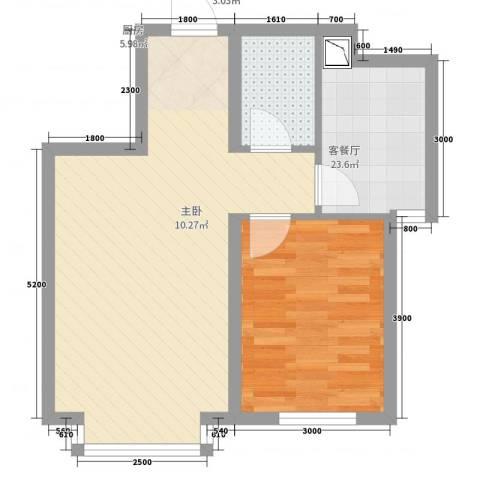 地王白金国际公寓1室2厅1卫1厨65.00㎡户型图
