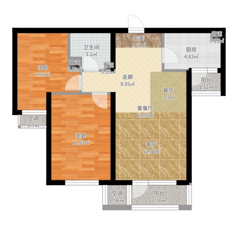龙冠·冠华苑89.00㎡3-B/3-B反户型2室2厅户型图