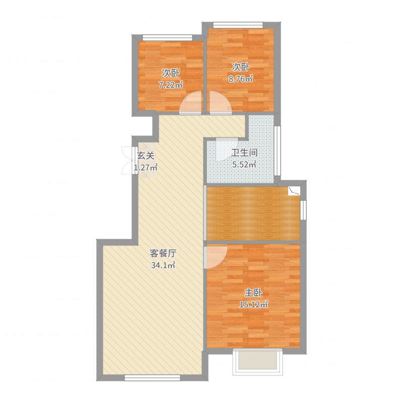 春柳公园98.12㎡4#HO户型3室3厅1卫1厨-副本户型图