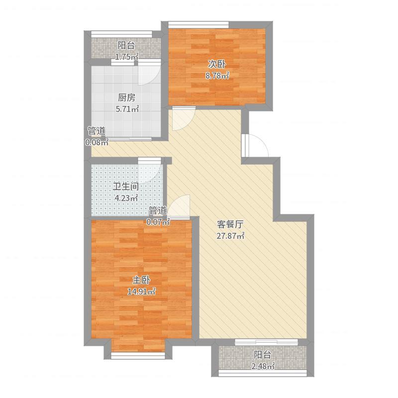东方渔人码头95.00㎡东方渔人码头户型图90B户型2室2厅1卫1厨户型2室2厅1卫1厨户型图