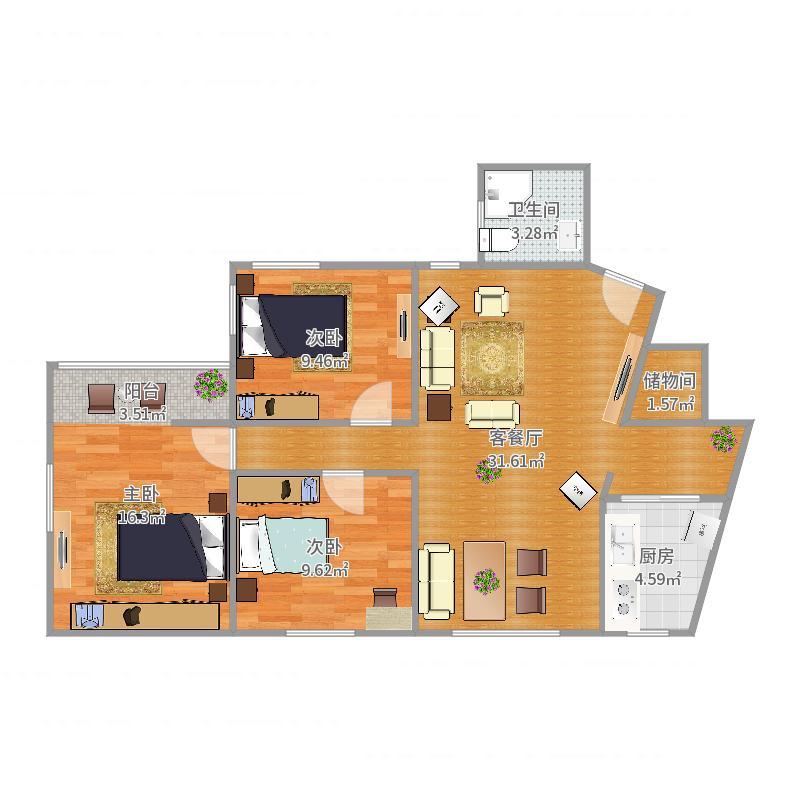 锦汇苑01室房型图户型图