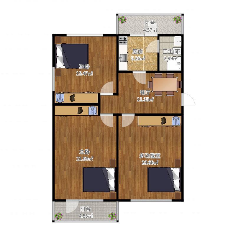 黄河路3室1厅2台1卫户型图