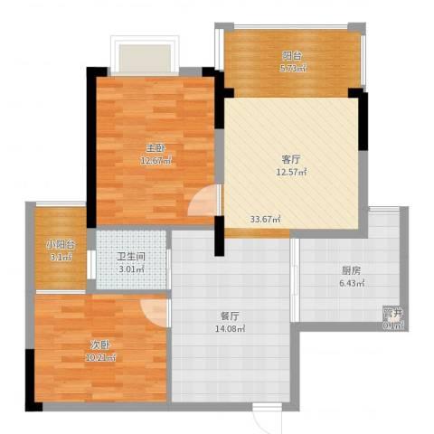 桑海明珠2室0厅1卫1厨86.00㎡户型图
