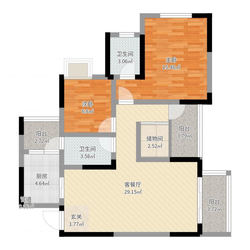 华顺・天水怡景637.20㎡A户型3室2厅2卫1厨户型图