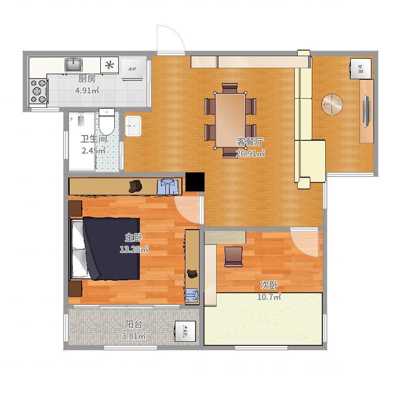 东光家园87m-副本-副本户型图
