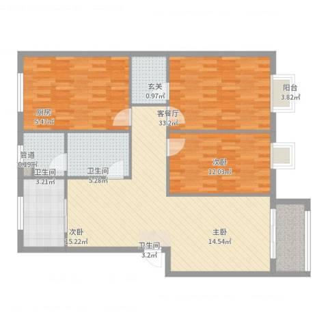 盛景华庭3室2厅3卫1厨120.00㎡户型图