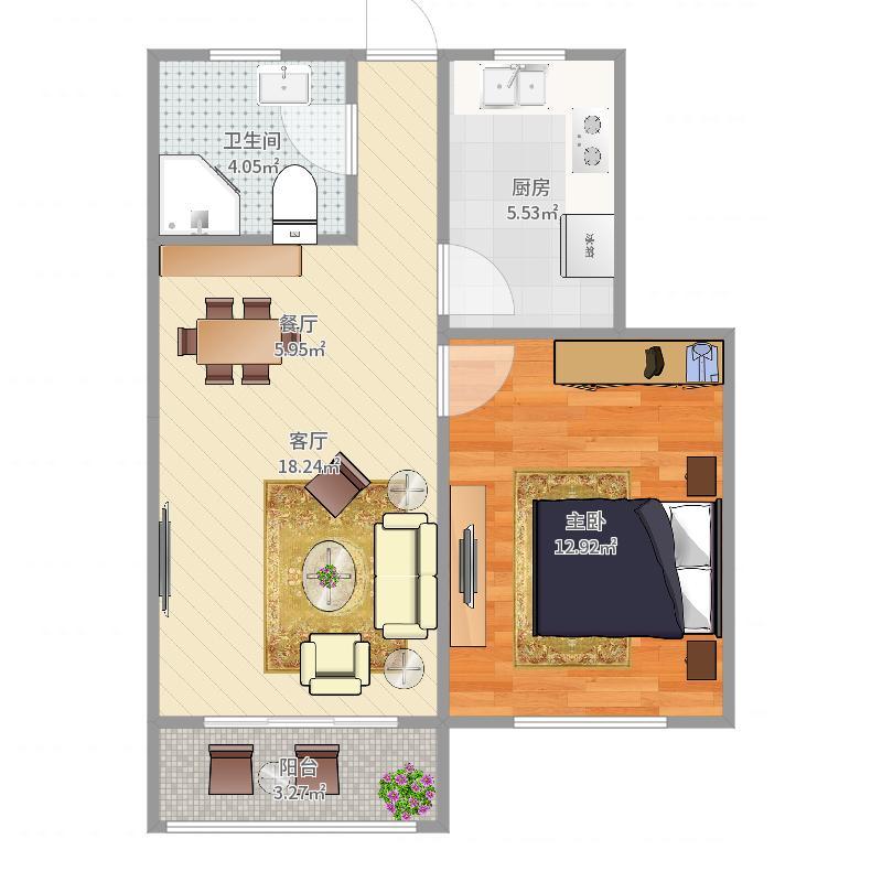 茶花园双南两房(主卧室改客厅)户型图