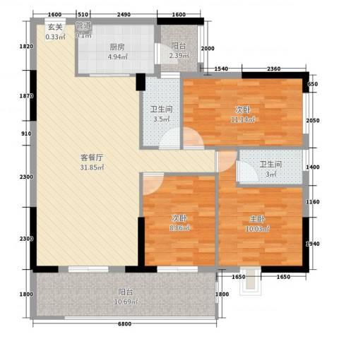 景湖花园3室2厅2卫1厨105.00㎡户型图