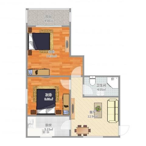 钦州大厦2室1厅1卫1厨63.00㎡户型图