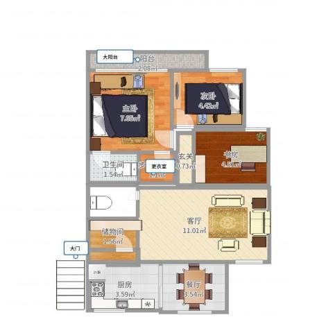 天河大厦3室2厅1卫1厨53.00㎡户型图