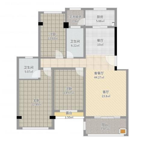 阳禾洪福秀景3室2厅2卫1厨155.00㎡户型图