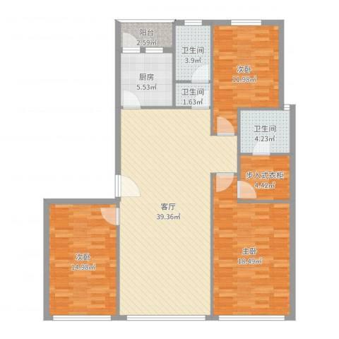 姚江花园3室1厅3卫1厨134.00㎡户型图