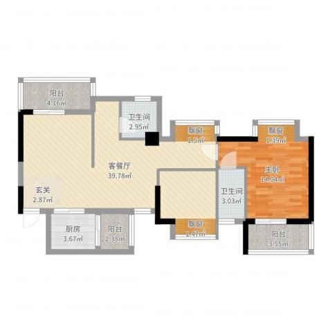 海滨大厦1室2厅2卫1厨92.00㎡户型图