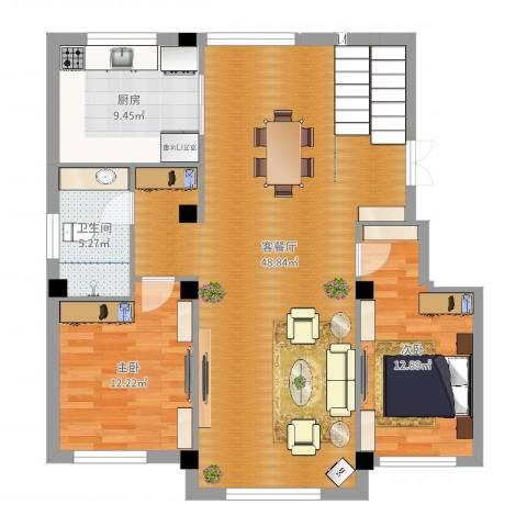 佳地花园2室2厅1卫1厨111.00㎡户型图