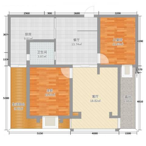 保利雅苑2室2厅1卫1厨110.00㎡户型图