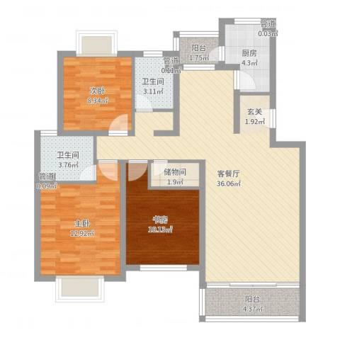 昆山花园3室2厅2卫1厨109.00㎡户型图