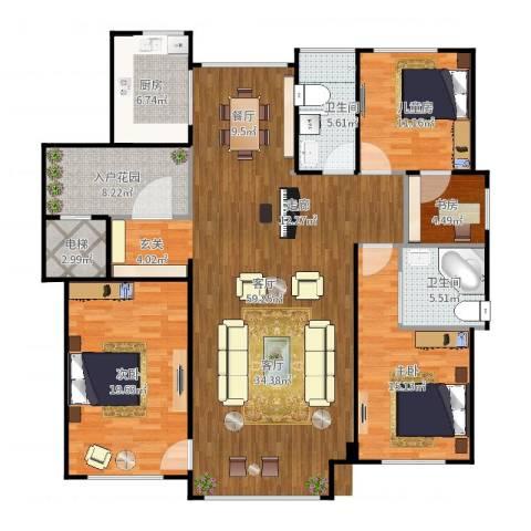 绿城玉兰公馆4室1厅4卫1厨173.00㎡户型图