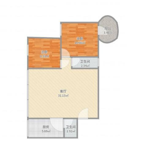 怡海花园2室1厅2卫1厨79.00㎡户型图